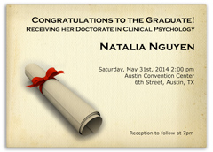 Doctorate Law Education Personalized Graduation Invitation
