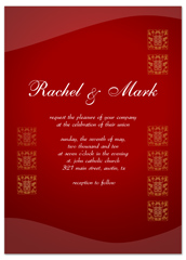 Deep Red Chinese Letter Printable Wedding Invitation